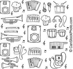Doodle music set hand draw