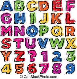doodle, número, coloridos, alfabeto