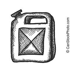 doodle naphtha jerrican, vector