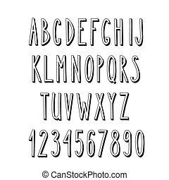 Doodle narrow alphabet, vector simple letters - Doodle ...