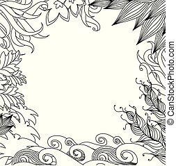 Doodle nature frame. Monochrome design style