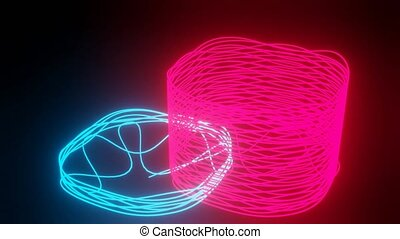 Doodle neon 3d objects on black background. Rendering of two wire abstract object in blue and red color.
