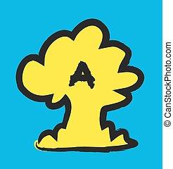 doodle, nuvem cogumelo, nuclear