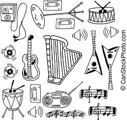 doodle, objeto, música, estoque