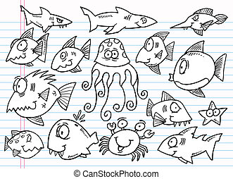 doodle, oceaan, set, schets, dier