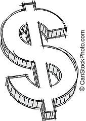 doodle, od, pieniądze, znak