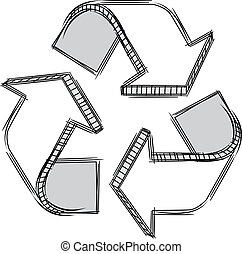 Doodle of a recycle sign - Vector doodle of a recycle sign. ...