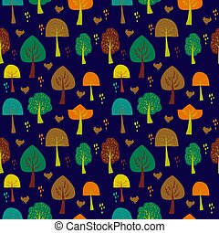 Doodle of autumn tree set object hand draw illustration seamless pattern