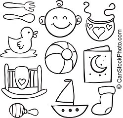 Doodle of baby object set
