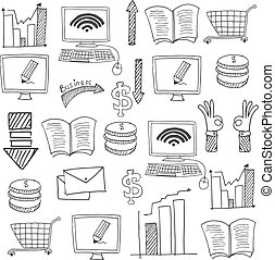Doodle of business collection stock