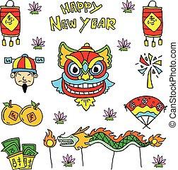 Doodle of Chinese celebration dragon lion costume