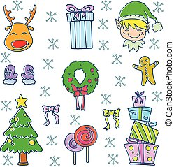 Doodle of christmas set vector art