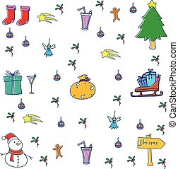 Doodle of christmas set vector illustration
