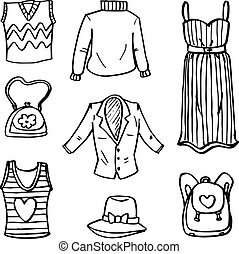 Doodle of clothes object set