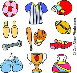 Doodle of colorful sport equipment