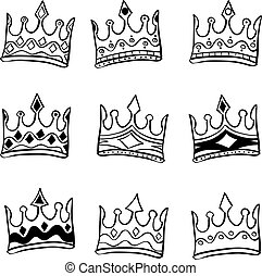 Doodle of crown hand draw set