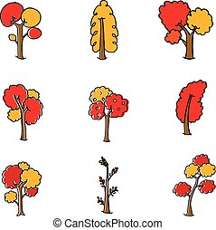 Doodle of different tree set