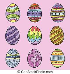 Doodle of easter egg colorful set