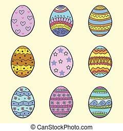 Doodle of easter egg set colorful