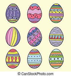 Doodle of easter egg set style colorful