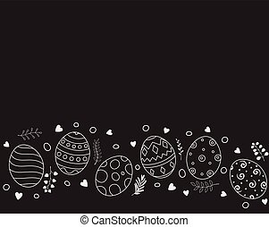 Doodle of easter eggs set collection on black background