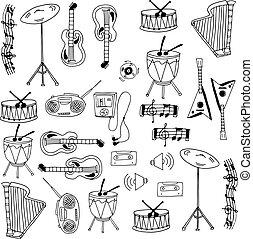 Doodle of element music set