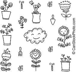 Doodle of flower set item