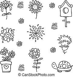 Doodle of flower set spring