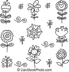 Doodle of flower set vector art