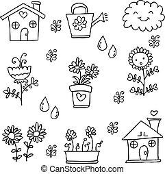 Doodle of flower spring set