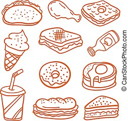 Doodle of food and drink style