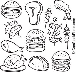Doodle of food hand draw various