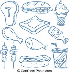 Doodle of food object hand draw
