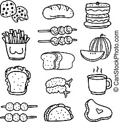 Doodle of food set hand draw