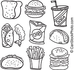 Doodle of food style hand draw