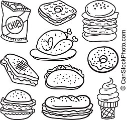 Doodle of food with hand draw