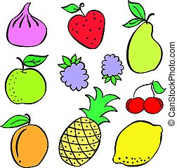 Doodle of fruit colorful various collection