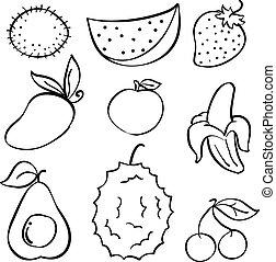 Doodle of fruit set hand draw