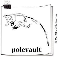Doodle of girl doing polevault
