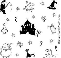 Doodle of Halloween set hand draw