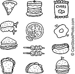Doodle of hand draw food set