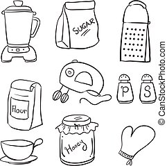 Doodle of hand draw kitchen set