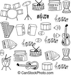 Doodle of hand draw music object