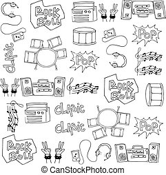 Doodle of hand draw music set