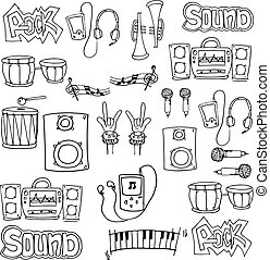 Doodle of hand draw music stock collection