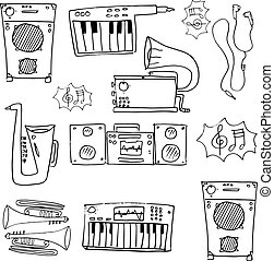 Doodle of hand draw music stock