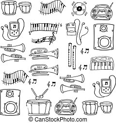 Doodle of hand draw music tools