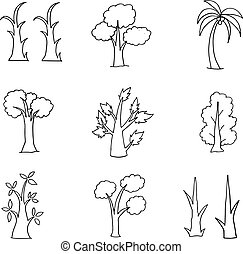 Doodle of hand draw tree set
