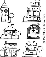 Doodle of house and building set
