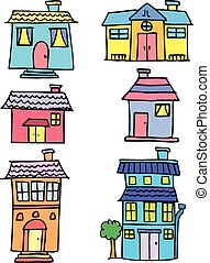 Doodle of house colorful set vector